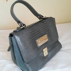 Valentino Milano  Grey Snake Embosd Leather  Bag